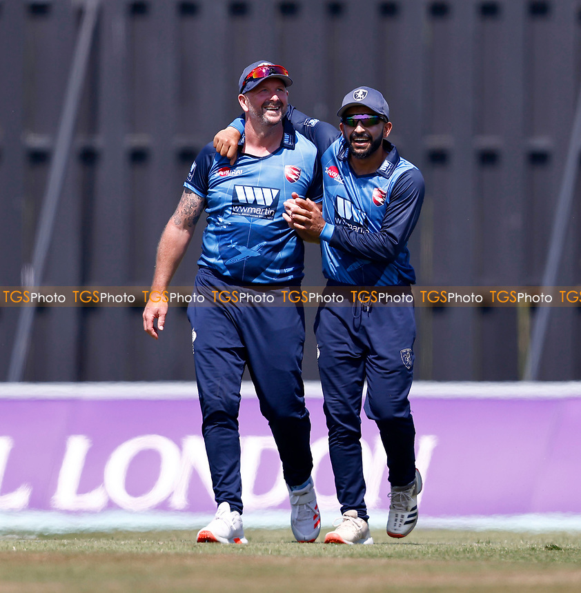 Darren Stevens (L) of Kent is congratulated on a taking a catch by Hamid Qadri to dismiss Alex Lees during Kent Spitfires vs Durham, Royal London One-Day Cup Cricket at The Spitfire Ground on 22nd July 2021
