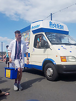 BNPS.co.uk (01202) 558833<br /> Pic: KevinBetteridge/BNPS<br /> <br /> Kevin and his son Adam in Swanage<br /> <br /> Ice cream man Kevin Bettteridge makes an epic 750 mile round trip to the seaside to sell his goods.<br /> <br /> Kevin lives in Newcastle but drives 10 hours to Swanage, Dorset, every summer. <br /> <br /> His parents moved to the south coast 25 years ago and the 64-year-old spends three weeks of the year visiting them.