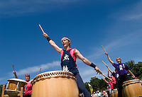 Burlington Vermont Taiko Drummers group at the Dragon Boat Festival.  Fundraiser for breast cancer.