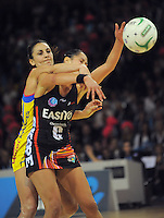 Joline Henry intercepts a pass to Kiley Hikawai during the ANZ Netball Championship match between Central Pulse and Canterbury Tactix at Te Rauparaha Arena, Porirua, New Zealand on Monday, 23 April 2012. Photo: Dave Lintott / lintottphoto.co.nz