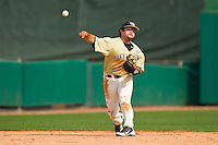 Wake Forest Demon Deacons shortstop Pat Blair #11 makes a throw to first base against the North Carolina State Wolfpack at Doak Field at Dail Park on March 17, 2012 in Raleigh, North Carolina.  The Wolfpack defeated the Demon Deacons 6-2.  (Brian Westerholt/Four Seam Images)