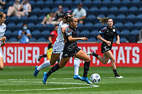 BRIDGEVIEW, IL - JUNE 5: Mallory Pugh #9 of the Chicago Red Stars dribbles the ball during a game between North Carolina Courage and Chicago Red Stars at SeatGeek Stadium on June 5, 2021 in Bridgeview, Illinois.