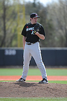University of Cincinnati Bearcats pitcher Austin Woodby (33) during a game against the Rutgers University Scarlet Knights at Bainton Field on April 19, 2014 in Piscataway, New Jersey. Rutgers defeated Cincinnati 4-1.  (Tomasso DeRosa/ Four Seam Images)