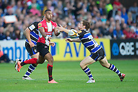 20120803 Copyright onEdition 2012©.Free for editorial use image, please credit: onEdition..Ashley Smith of London Welsh passes against Bath Rugby 7s at The Recreation Ground, Bath in the Final round of The J.P. Morgan Asset Management Premiership Rugby 7s Series...The J.P. Morgan Asset Management Premiership Rugby 7s Series kicked off again for the third season on Friday 13th July at The Stoop, Twickenham with Pool B being played at Edgeley Park, Stockport on Friday, 20th July, Pool C at Kingsholm Gloucester on Thursday, 26th July and the Final being played at The Recreation Ground, Bath on Friday 3rd August. The innovative tournament, which involves all 12 Premiership Rugby clubs, offers a fantastic platform for some of the country's finest young athletes to be exposed to the excitement, pressures and skills required to compete at an elite level...The 12 Premiership Rugby clubs are divided into three groups for the tournament, with the winner and runner up of each regional event going through to the Final. There are six games each evening, with each match consisting of two 7 minute halves with a 2 minute break at half time...For additional images please go to: http://www.w-w-i.com/jp_morgan_premiership_sevens/..For press contacts contact: Beth Begg at brandRapport on D: +44 (0)20 7932 5813 M: +44 (0)7900 88231 E: BBegg@brand-rapport.com..If you require a higher resolution image or you have any other onEdition photographic enquiries, please contact onEdition on 0845 900 2 900 or email info@onEdition.com.This image is copyright the onEdition 2012©..This image has been supplied by onEdition and must be credited onEdition. The author is asserting his full Moral rights in relation to the publication of this image. Rights for onward transmission of any image or file is not granted or implied. Changing or deleting Copyright information is illegal as specified in the Copyright, Design and Patents Act 1988. If you are in any way unsure of your right to publish this image pl