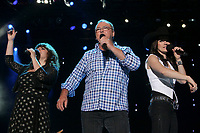 Lisa Leblanc, Gildor Roy and Andree Watters perform at the St-Jean show on the Plains of Abraham in Quebec City, Saturday June 23, 2012. St-Jean Baptist is Quebec National day and is traditionally celebrated on the Plains of Abraham with a concert and a huge fire.