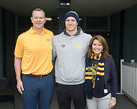 BERKELEY, CA - Feb. 18, 2017: Cal's Ryan Murphy with his parents on Senior Day.  Cal Men's Swimming and Diving competed against Stanford at Spieker Aquatics Complex.