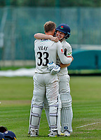 23rd September 2021; Aigburth, Liverpool, Merseyside, England; LV=Country Cricket Championship; Lancashire versus Hampshire; <br /> Lancashire captain Dane Vilas is congratulated by Matt Parkinson after hitting the winning run to give his side a one wicket win and keeps them in the title race hoping for a result that will win them the league