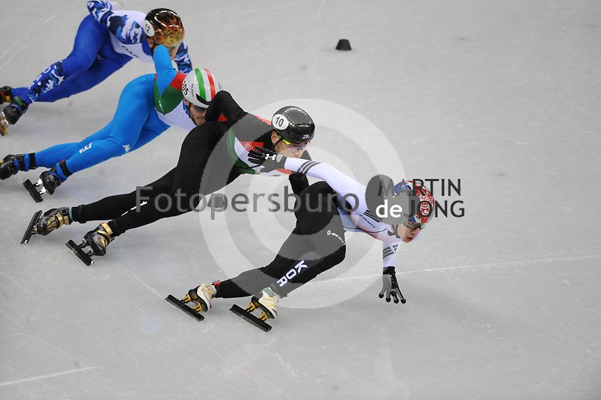 OLYMPIC GAMES: PYEONGCHANG: 17-02-2018, Gangneung Ice Arena, Short Track, 1000m Men, Lim Hyo Jun (KOR), Yuri Confortola (ITA), Shaolin Sandor Liu (HUN), ©photo Martin de Jong
