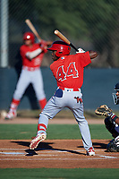 AZL Angels Julio De La Cruz (44) at bat during an Arizona League game against the AZL D-backs on July 20, 2019 at Salt River Fields at Talking Stick in Scottsdale, Arizona. The AZL Angels defeated the AZL D-backs 11-4. (Zachary Lucy/Four Seam Images)