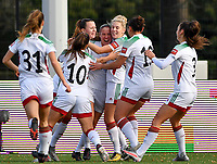 OHL's Lenie Onzia pictured celebrating with her teammates after scoring a goal during a female soccer game between Club Brugge Dames YLA and Oud Heverlee Leuven on the 8 th matchday of the 2020 - 2021 season of Belgian Scooore Womens Super League , saturday 21 th November 2020  in Knokke , Belgium . PHOTO SPORTPIX.BE | SPP | DAVID CATRY