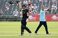 George Scott of Gloucestershire raises his bat to celebrate reaching his fifty during Gloucestershire vs Essex Eagles, Royal London One-Day Cup Cricket at the Bristol County Ground on 3rd August 2021