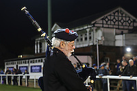 A Piper plays as the teams enter the pitch ahead of the Greene King IPA Championship match between London Scottish Football Club and Nottingham Rugby at Richmond Athletic Ground, Richmond, United Kingdom on 16 October 2015. Photo by David Horn.
