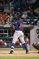 Ronald Acuna (24) of the Gwinnett Braves at bat against the Charlotte Pitmasters at BB&T BallPark on July 15, 2017 in Charlotte, North Carolina.  The Braves defeated the Pitmasters 9-4.  (Brian Westerholt/Four Seam Images)