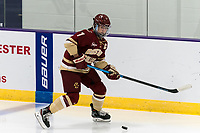 WORCESTER, MA - JANUARY 16: Maegan Beres #7 of Boston College looks to pass during a game between Boston College and Holy Cross at Hart Center Rink on January 16, 2021 in Worcester, Massachusetts.