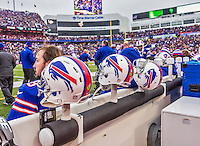 14 December 2014: Buffalo Bills quarterback Kyle Orton watches play from the bench in the second quarter against the Green Bay Packers at Ralph Wilson Stadium in Orchard Park, NY. The Bills defeated the Packers 21-13, snapping the Packers' 5-game winning streak and keeping the Bills' 2014 playoff hopes alive. Mandatory Credit: Ed Wolfstein Photo *** RAW (NEF) Image File Available ***