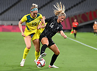 21st July 2021. Tokyo, Japan; Ellie Carpenter of Autralia challenges Katie Bowen of New Zealand during for womens football match G match between Australia and New Zealand at Tokyo 2020