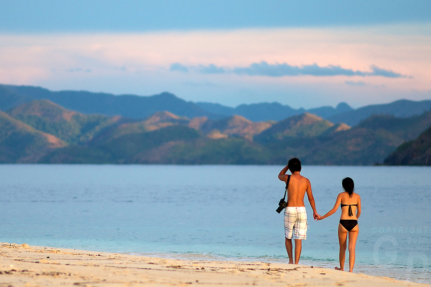 Asian on Holidays at a tropical Beach in Palawan, Philippines