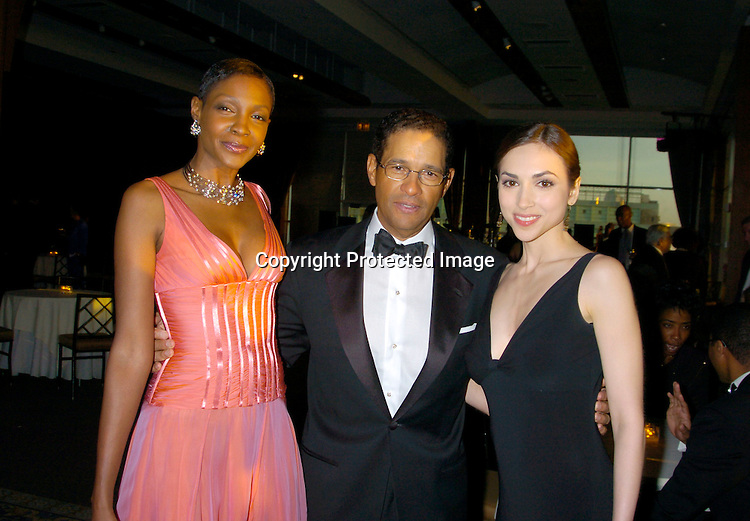 Roshumba Williams, Bryant Gumbel and Eden Riegel ..at the Arthur Ashe Institute for Urban Health Sportsball 2004 on April 29, 2004 at PIer Sixty at Chelsea PIers. ..People were told to wear Blcak tie and sneakers. ..Photo by Robin Platzer, Twin Images