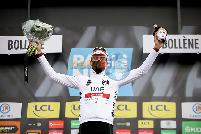 Brandon McNulty (USA) UAE Team Emirates retains the young riders White Jersey at the end of Stage 5 of Paris-Nice 2021, running 200km from Vienne to Bollene, France. 11th March 2021.<br /> Picture: ASO/Fabien Boukla | Cyclefile<br /> <br /> All photos usage must carry mandatory copyright credit (© Cyclefile | ASO/Fabien Boukla)
