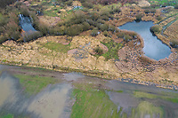 Naturschutzsprojekt Steinbruchwiesen am Stadtwald Lübeck bei Ritzerau, Hochwasser, Hochwassersituation im Februar nach langanhaltenden Regenfällen, Feuchtgebiet, Feuchtwiese, Feuchtwiesen, Kreis Herzogtum Lauenburg, Schleswig-Holstein, Deutschland