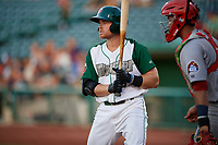Fort Wayne TinCaps Luke Becker (9) during a Midwest League game against the Peoria Chiefs on July 17, 2019 at Parkview Field in Fort Wayne, Indiana.  Fort Wayne defeated Peoria 6-2.  (Mike Janes/Four Seam Images)