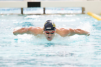 BERKELEY, CA - Feb. 18, 2017: Cal's Andrew Seliskar swims in the Men 200 Yard Butterfly.  Cal Men's Swimming and Diving competed against Stanford at Spieker Aquatics Complex.