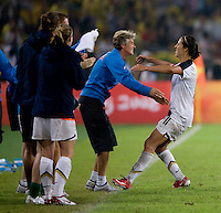 Pia Sundhage, Carli Lloyd. The USWNT defeated Brazil, 1-0, to win the gold medal during the 2008 Beijing Olympics at Workers' Stadium in Beijing, China.