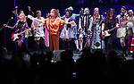 The Go-Go's: Charlotte Caffey, Belinda Carlisle and Kathy Valentine perform during a special curtain call at Broadway's 'Head Over Heels' on July 12, 2018 at the Hudson Theatre in New York City.