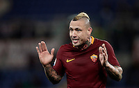 Calcio, Serie A: Roma, Stadio Olimpico, 7 febbraio 2017.<br /> Roma's Radja Nainggolan reacts during the Italian Serie A football match between AS Roma and Fiorentina at Roma's Olympic Stadium, on February 7, 2017.<br /> UPDATE IMAGES PRESS/Isabella Bonotto