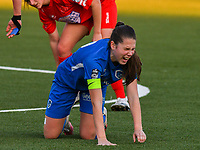 Sien Vandersanden (10) of KRC Genk injured on the ground during a female soccer game between  Racing Genk Ladies and White Star Woluwe on the 8 th matchday of play off 2 in the 2020 - 2021 season of Belgian Scooore Womens Super League , tuesday 18 th of May 2021  in Genk , Belgium . PHOTO SPORTPIX.BE | SPP | JILL DELSAUX