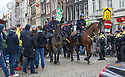 Mounted police keep an eye on Celtic fans as they gather in Dam Square, Amsterdam, ahead of tonight's game against Ajax.