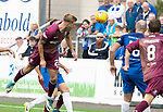 Montrose v St Johnstone…21.07.18…  Links Park    League Cup<br />Callum Henry's header is saved by Jordan Millar<br />Picture by Graeme Hart. <br />Copyright Perthshire Picture Agency<br />Tel: 01738 623350  Mobile: 07990 594431