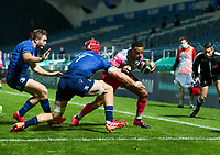 2nd October 2020; RDS Arena, Dublin, Leinster, Ireland; Guinness Pro 14 Rugby, Leinster versus Dragons; Ashton Hewitt (Dragons) goes for the corner to score a try