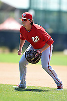 Washington Nationals first baseman James Yezzo (41) during practice before a minor league spring training game against the Atlanta Braves on March 26, 2014 at Wide World of Sports in Orlando, Florida.  (Mike Janes/Four Seam Images)