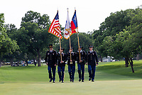 30th May 2021; Fort Worth, Texas, USA;  Fort Hood Honor Guard presents flags during the closing ceremonies of the Charles Schwab Challenge on May 30, 2021 at Colonial Country Club in Fort Worth, TX.