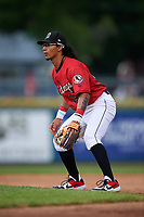 Billings Mustangs second baseman Quincy McAfee (19) during a Pioneer League game against the Grand Junction Rockies at Dehler Park on August 14, 2019 in Billings, Montana. Grand Junction defeated Billings 8-5. (Zachary Lucy/Four Seam Images)