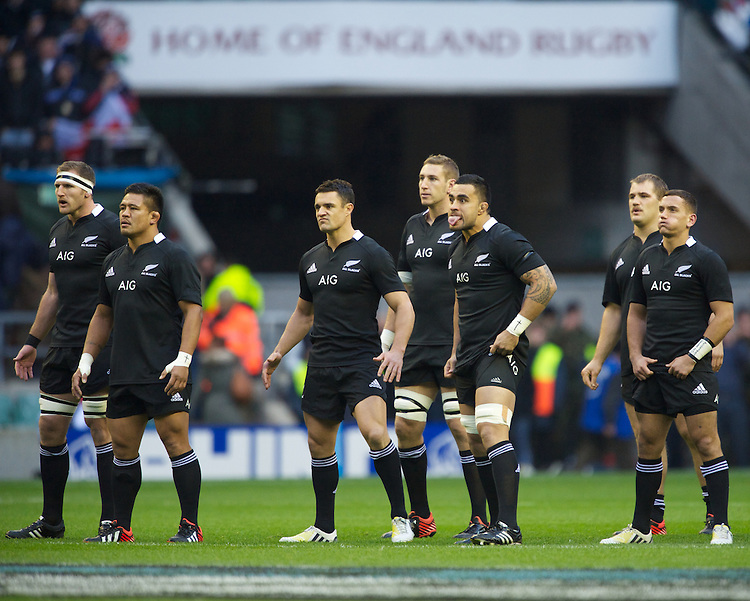 The All Blacks perform the Haka before the QBE Autumn International match between England and New Zealand at Twickenham on Saturday 01 December 2012 (Photo by Rob Munro)