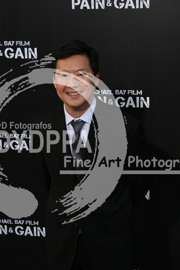 """Ken Jeong.  Celebrities gathered at The TCL Chinese Theatre in Hollywood to attend the Los Angeles premiere of Paramount Picture's  PAIN & GAIN on April 22, 2013.<br /> Cast members and filmmakers attending include: Mark Wahlberg (Daniel Lugo), Dwayne Johnson (Paul Doyle), Michael Bay (Director), Anthony Mackie (Adrian Doorbal), Rebel Wilson (Robin Peck), Ed Harris (Ed Du Bois), Tony Shalhoub (Victor Kershaw), Rob Corddry (John Mese), Ken Jeong (Jonny Wu), Bar Paly (Sorina Luminita), Christopher Markus (Screenwriter), Stephen McFeely (Screenwriter), Donald DeLine (Producer)<br /> ABOUT PAIN & GAIN: <br /> From acclaimed director Michael Bay comes """"Pain & Gain,"""" a new action comedy starring Mark Wahlberg, Dwayne Johnson and Anthony Mackie. Based on the unbelievable true story of a group of personal trainers in 1990s Miami who, in pursuit of the American Dream, get caught up in a criminal enterprise that goes horribly wrong. Release Date:  April 26, 2013. Photo by Hilda Lazarte/ Unimedia/ DyD Fotografos"""