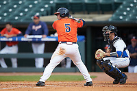 Caleb Knight (5) of the Virginia Cavaliers at bat against the Duke Blue Devils in Game Seven of the 2017 ACC Baseball Championship at Louisville Slugger Field on May 25, 2017 in Louisville, Kentucky. The Blue Devils defeated the Cavaliers 4-3. (Brian Westerholt/Four Seam Images)
