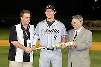 Omaha Royals outfielder Will Myers #8 is awarded the Pacific Coast League MVP award by Branch B. Rickey (right) and an MiLB representative during the Triple-A All-Star Game Coca-Cola Field on July 11, 2012 in Buffalo, New York.  The Pacific Coast League defeated the International League 3-0.  (Mike Janes/Four Seam Images via AP Images)