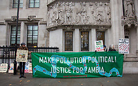 Rally outside the Supreme Court as Zambian communities consistently polluted by the subsidiary of British mining company Vedanta Resources have their case heard at the Supreme Court in Westminster, London, England on 16 January 2019. Photo by Andy Rowland.