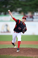Batavia Muckdogs starting pitcher Remey Reed (32) delivers a warmup pitch during a game against the Williamsport Crosscutters on August 19, 2017 at Dwyer Stadium in Batavia, New York.  Batavia defeated Williamsport 11-1 in five innings due to rain.  (Mike Janes/Four Seam Images)