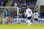 St Johnstone v Lask…26.08.21  McDiarmid Park    Europa Conference League Qualifier<br />Husein Balic scores Lask's first goal<br />Picture by Graeme Hart.<br />Copyright Perthshire Picture Agency<br />Tel: 01738 623350  Mobile: 07990 594431