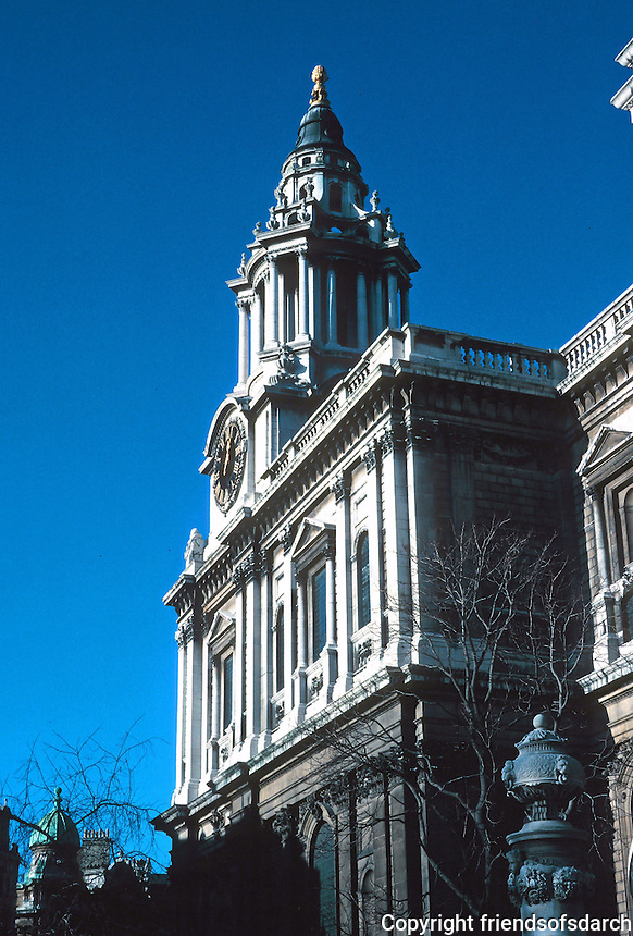 Sir Christopher Wren: St. Paul's Cathedral--South Tower, taken from south. Photo '90.
