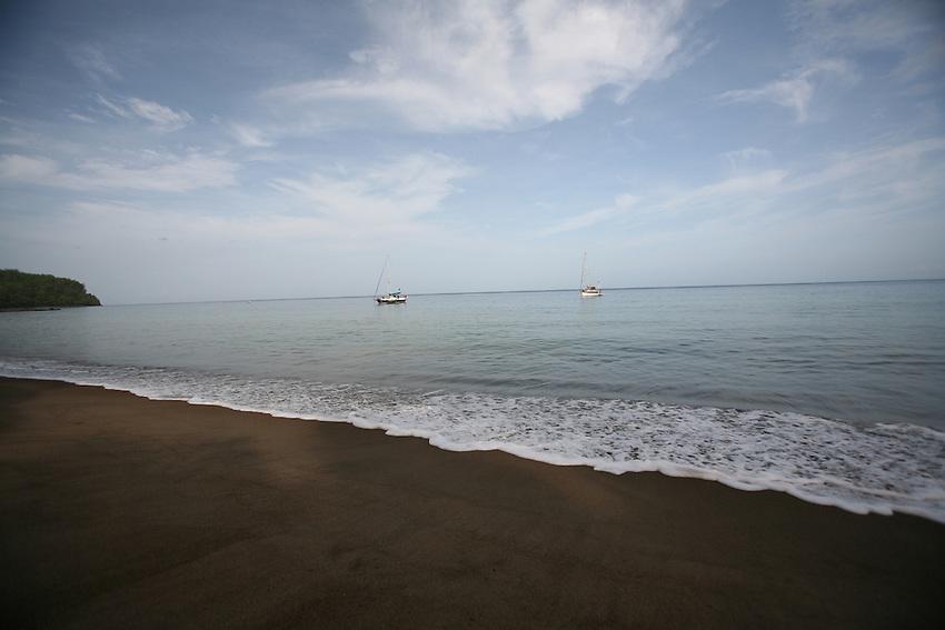 Ayohayo Beach on Prince Rupert Bay, Portsmouth, Dominica. Black sand beach..