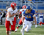 BROOKINGS, SD - MARCH 13: Mark Waid #7 of the Youngstown State Penguins looks to escape the pursuit of Cade Terveer #94 of the South Dakota State Jackrabbits at Dana J. Dykhouse Stadium on March 13, 2021 in Brookings, South Dakota. (Photo by Dave Eggen/Inertia)