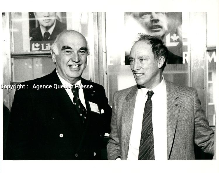 Harold Cummings et Pierre Trudeau, le 18 fevrier 1980<br /> <br /> <br /> PHOTO :   Agence Quebec Presse