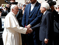 Pope Francis shakes hands with Italian President Sergio Mattarella, (r) as he arrives at the Quirinale presidential palace in Rome, on June 10, 2017.<br /> UPDATE IMAGES PRESS/Isabella Bonotto<br /> STRICTLY ONLY FOR EDITORIAL USE