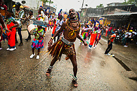 An Afro-Colombian dancer of the La Yesquita neighborhood performs during the San Pacho festival in Quibdó, Colombia, 30 September 2019. Every year at the turn of September and October, the capital of the Pacific region of Chocó holds the celebrations in honor of Saint Francis of Assisi (locally named as San Pacho), recognized as Intangible Cultural Heritage by UNESCO. Each day carnival groups, wearing bright colorful costumes and representing each neighborhood, dance throughout the city, supported by brass bands playing live music. The festival culminates in a traditional boat ride on the Atrato River, followed by massive religious processions, which accent the pillars of Afro-Colombian's identity – the Catholic devotion grown from African roots.