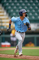 FCL Rays Shane Sasaki (37) runs to first base during a game against the FCL Pirates Gold on July 26, 2021 at LECOM Park in Bradenton, Florida. (Mike Janes/Four Seam Images)